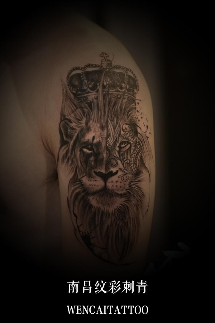 南昌高先生大臂霸气狮子王纹身图案